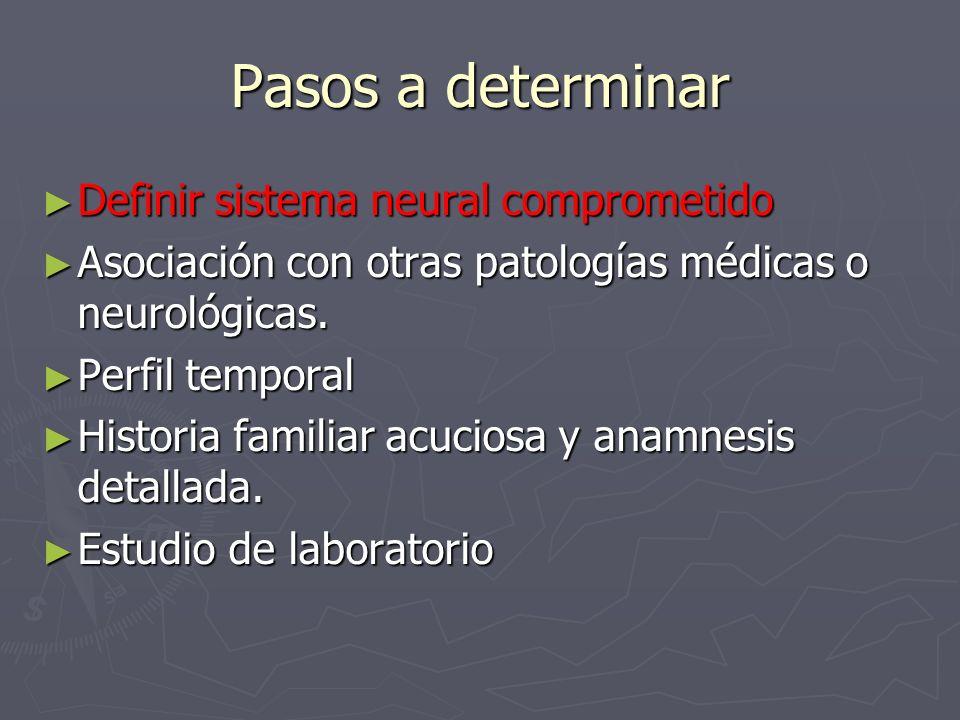 Es importante determinar la presencia de: Es importante determinar la presencia de: Demencia Demencia Convulsiones Convulsiones Mioclonías Mioclonías Pérdida audición sensorioneural Pérdida audición sensorioneural Alteraciones de tronco Alteraciones de tronco Disfunción autonómica.