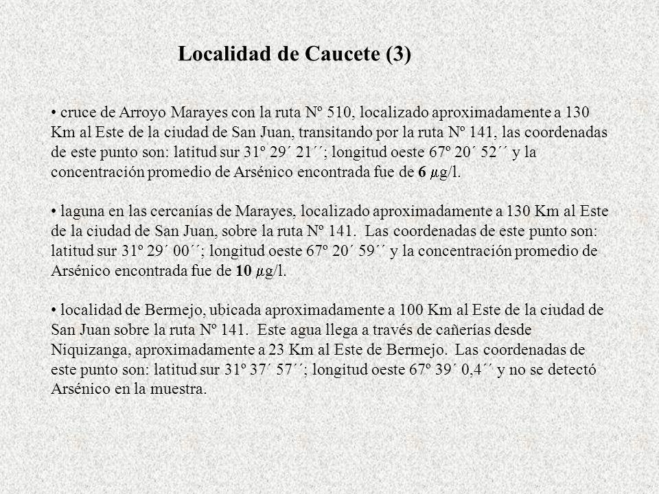Localidad de Caucete (3) cruce de Arroyo Marayes con la ruta Nº 510, localizado aproximadamente a 130 Km al Este de la ciudad de San Juan, transitando por la ruta Nº 141, las coordenadas de este punto son: latitud sur 31º 29´ 21´´; longitud oeste 67º 20´ 52´´ y la concentración promedio de Arsénico encontrada fue de 6 g/l.