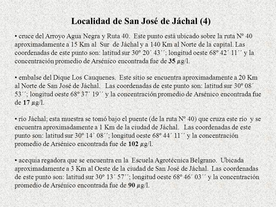 Localidad de San José de Jáchal (4) cruce del Arroyo Agua Negra y Ruta 40. Este punto está ubicado sobre la ruta Nº 40 aproximadamente a 15 Km al Sur