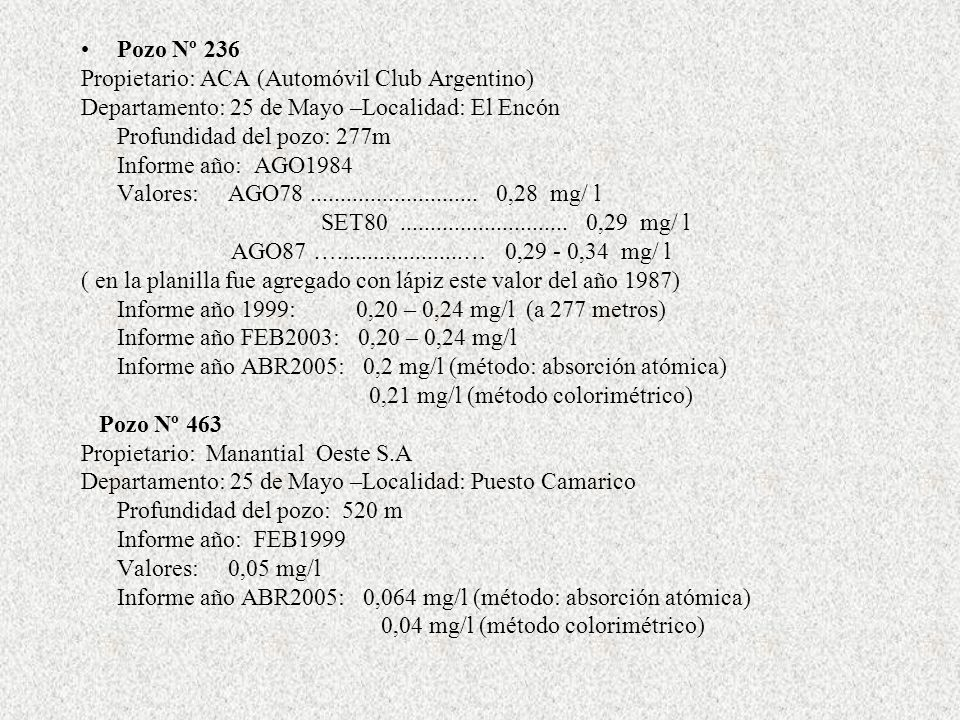 Pozo Nº 236 Propietario: ACA (Automóvil Club Argentino) Departamento: 25 de Mayo –Localidad: El Encón Profundidad del pozo: 277m Informe año: AGO1984