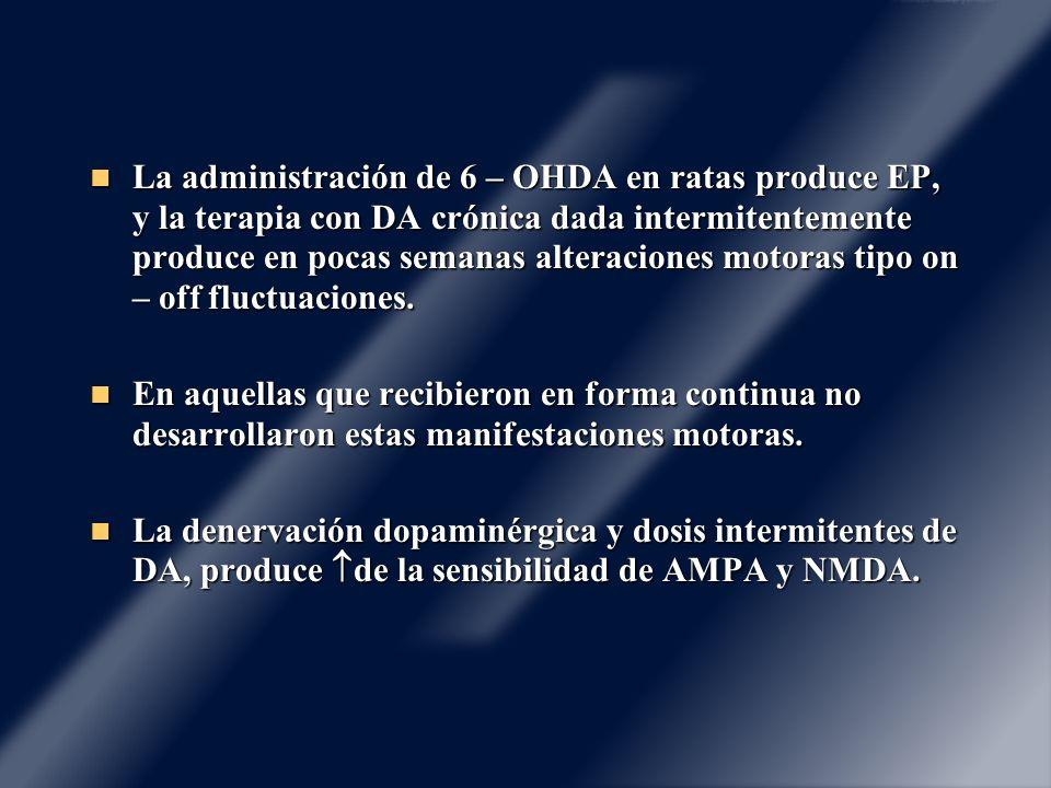 La administración de 6 – OHDA en ratas produce EP, y la terapia con DA crónica dada intermitentemente produce en pocas semanas alteraciones motoras ti