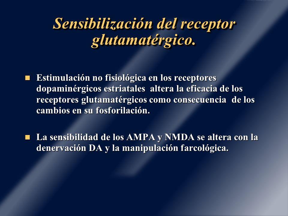 Sensibilización del receptor glutamatérgico. Estimulación no fisiológica en los receptores dopaminérgicos estriatales altera la eficacia de los recept