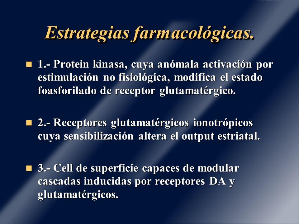 Estrategias farmacológicas. 1.- Protein kinasa, cuya anómala activación por estimulación no fisiológica, modifica el estado foasforilado de receptor g