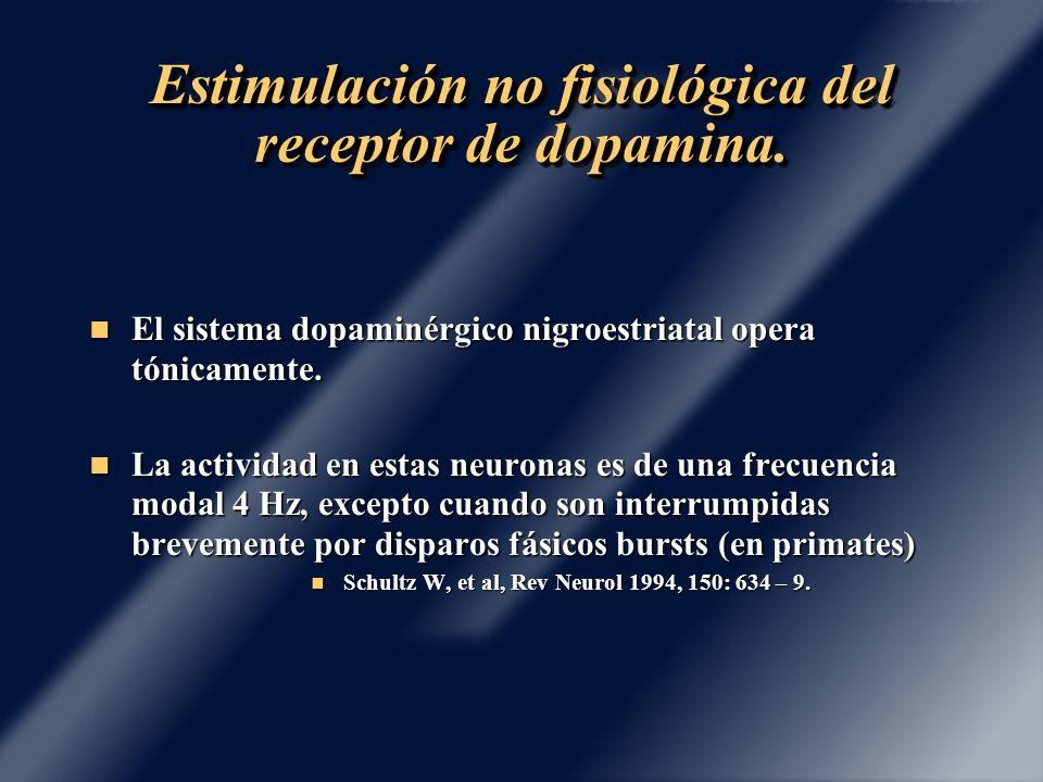 Estimulación no fisiológica del receptor de dopamina. El sistema dopaminérgico nigroestriatal opera tónicamente. El sistema dopaminérgico nigroestriat
