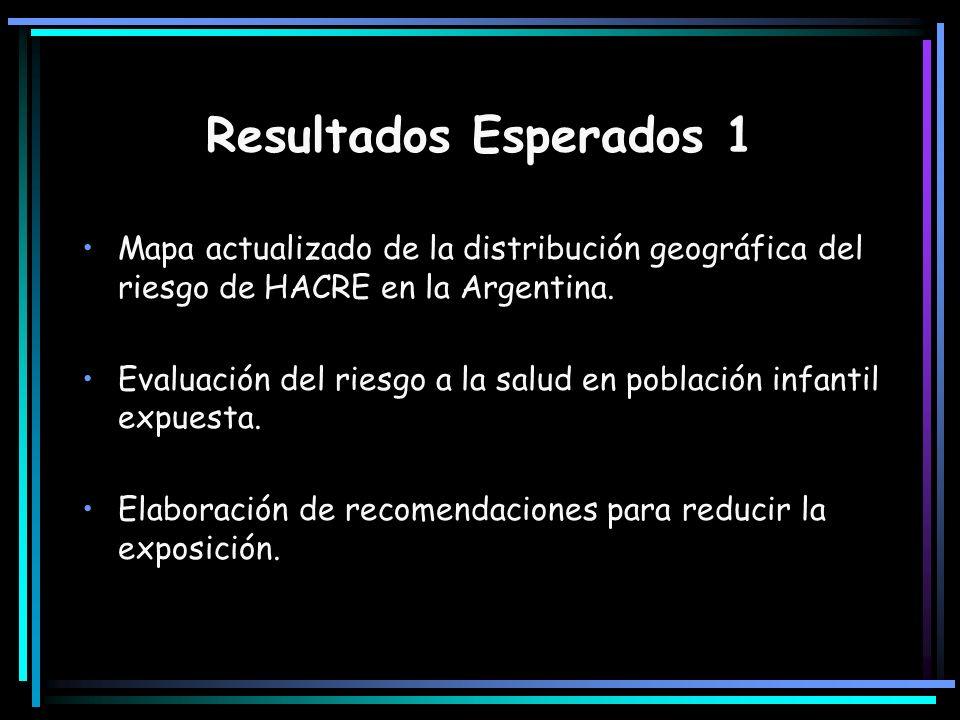 Resultados Esperados 1 Mapa actualizado de la distribución geográfica del riesgo de HACRE en la Argentina. Evaluación del riesgo a la salud en poblaci