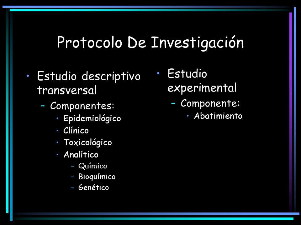 Protocolo De Investigación Estudio descriptivo transversal –Componentes: Epidemiológico Clínico Toxicológico Analítico –Químico –Bioquímico –Genético