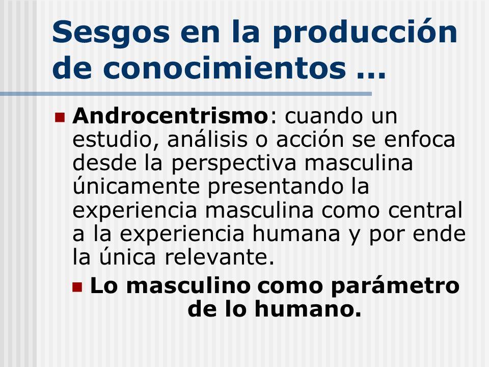Sesgos en la producción de conocimientos... Androcentrismo: cuando un estudio, análisis o acción se enfoca desde la perspectiva masculina únicamente p