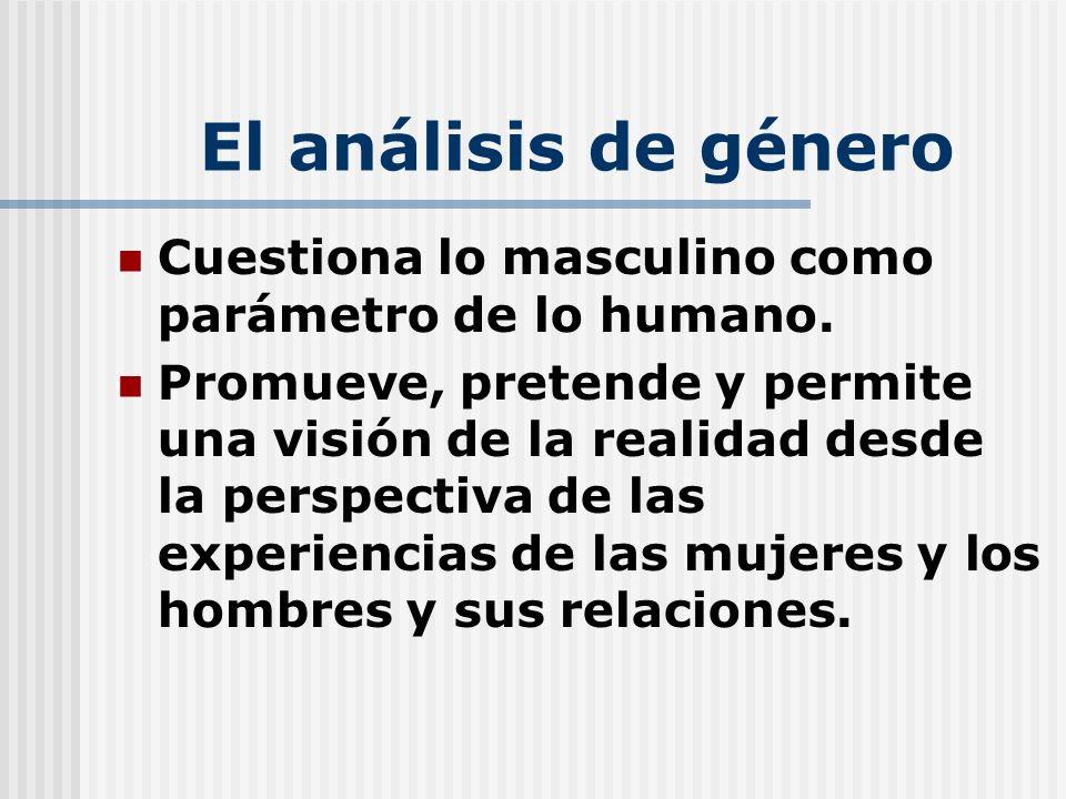 El análisis de género Cuestiona lo masculino como parámetro de lo humano. Promueve, pretende y permite una visión de la realidad desde la perspectiva