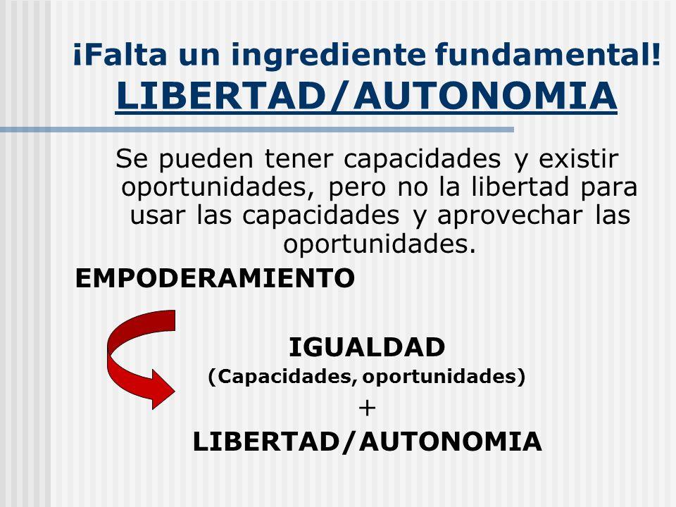 ¡Falta un ingrediente fundamental! LIBERTAD/AUTONOMIA Se pueden tener capacidades y existir oportunidades, pero no la libertad para usar las capacidad