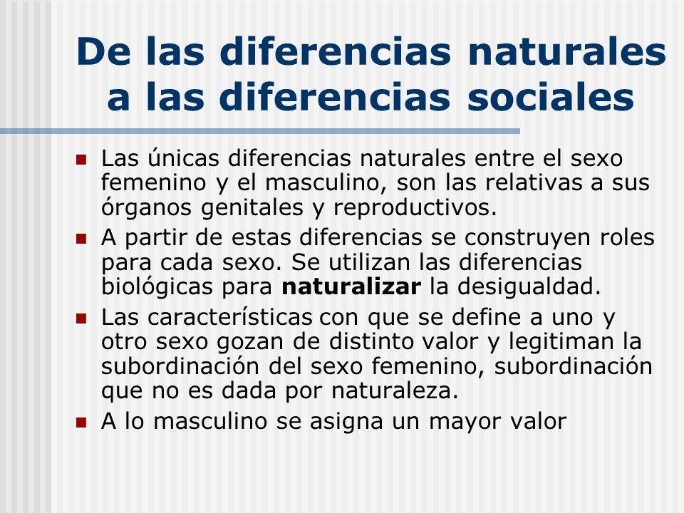 De las diferencias naturales a las diferencias sociales Las únicas diferencias naturales entre el sexo femenino y el masculino, son las relativas a su