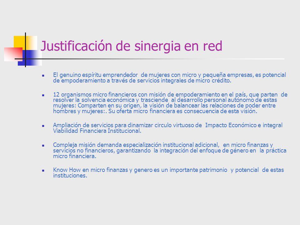 Justificación de sinergia en red El genuino espíritu emprendedor de mujeres con micro y pequeña empresas, es potencial de empoderamiento a través de s