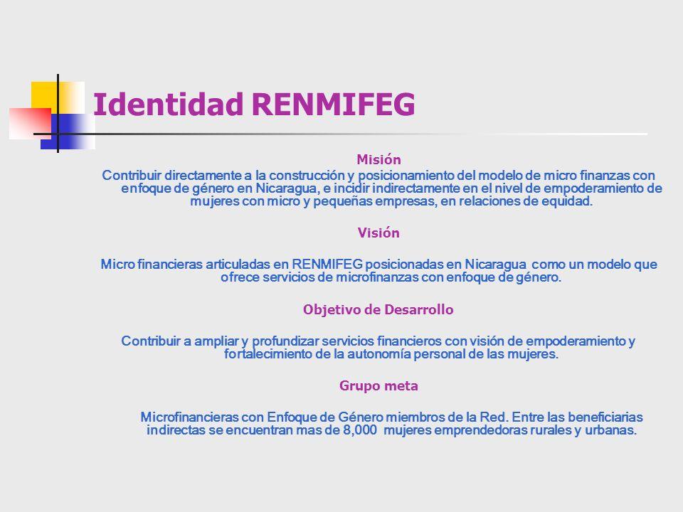 Identidad RENMIFEG Misión Contribuir directamente a la construcción y posicionamiento del modelo de micro finanzas con enfoque de género en Nicaragua,