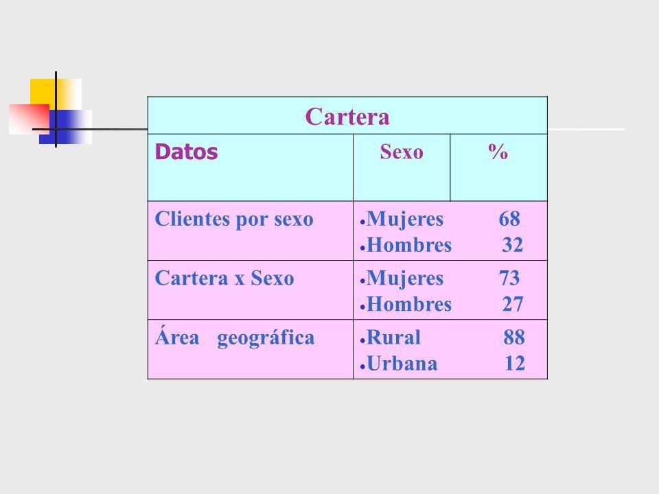 Cartera Datos Sexo% Clientes por sexo Mujeres 68 Hombres 32 Cartera x Sexo Mujeres 73 Hombres 27 Área geográfica Rural 88 Urbana 12