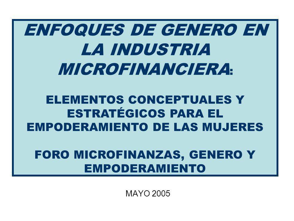 MAYO 2005 ENFOQUES DE GENERO EN LA INDUSTRIA MICROFINANCIERA : ELEMENTOS CONCEPTUALES Y ESTRATÉGICOS PARA EL EMPODERAMIENTO DE LAS MUJERES FORO MICROFINANZAS, GENERO Y EMPODERAMIENTO