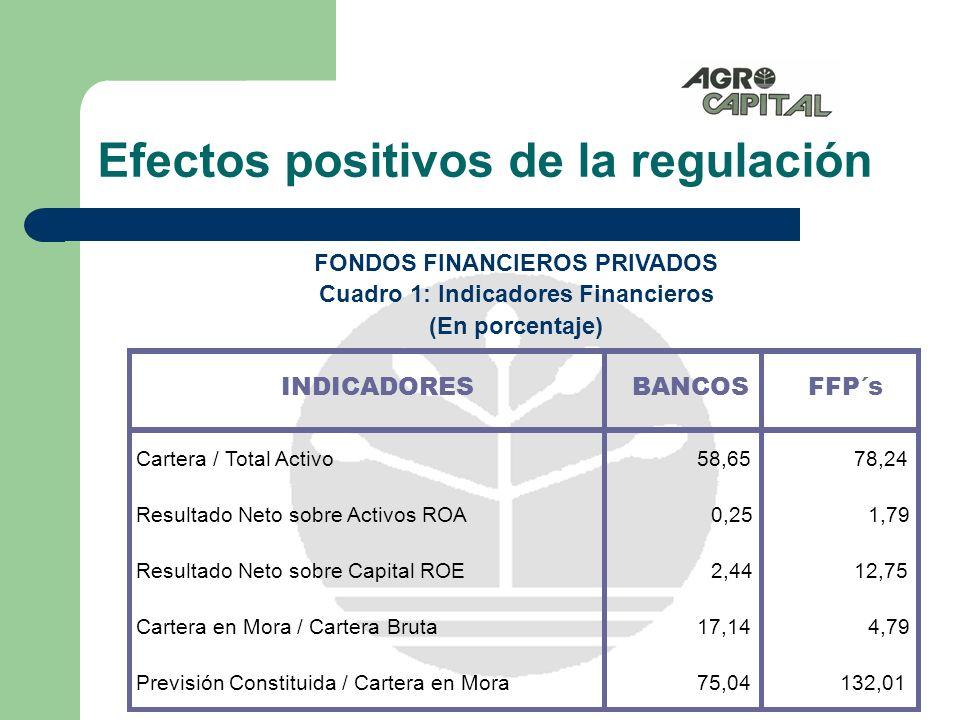 Efectos positivos de la regulación Capacidad de captar recursos del público para incremento de cartera de créditos Diversificación de servicios financieros Reducción de la tasa de interés activa por innovación tecnológica Alta capacidad de administrar riesgos