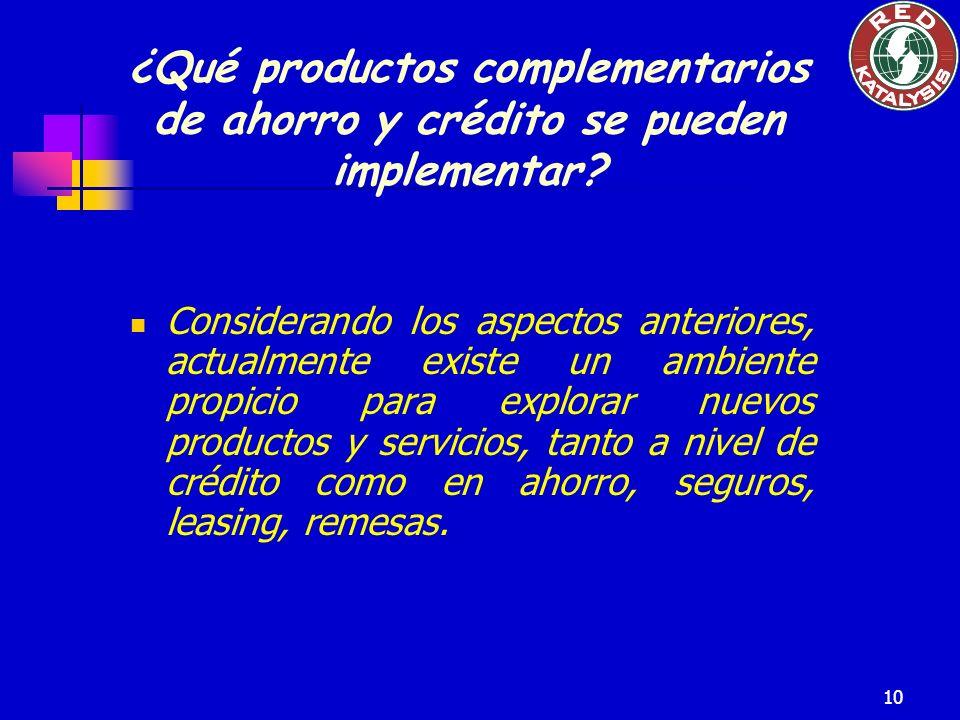 10 ¿Qué productos complementarios de ahorro y crédito se pueden implementar? Considerando los aspectos anteriores, actualmente existe un ambiente prop