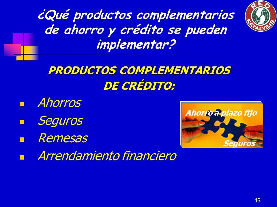 13 PRODUCTOS COMPLEMENTARIOS DE CRÉDITO: Ahorros Seguros Remesas Arrendamiento financiero Ahorro a plazo fijo Seguros ¿Qué productos complementarios d