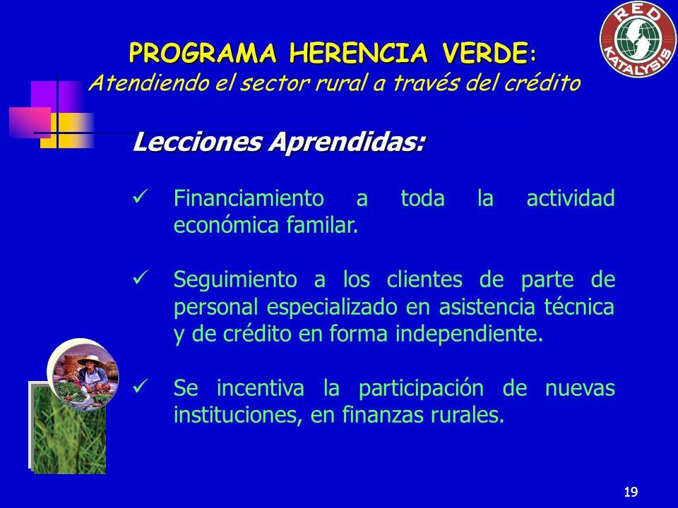 19 Lecciones Aprendidas: Financiamiento a toda la actividad económica familar. Seguimiento a los clientes de parte de personal especializado en asiste
