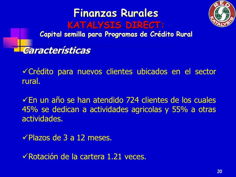 20 Finanzas Rurales KATALYSIS DIRECT: Capital semilla para Programas de Crédito Rural Características Crédito para nuevos clientes ubicados en el sect