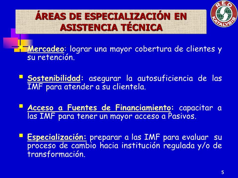 5 ÁREAS DE ESPECIALIZACIÓN EN ASISTENCIA TÉCNICA Mercadeo: lograr una mayor cobertura de clientes y su retención.