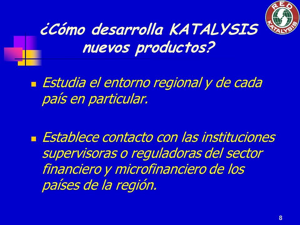 8 ¿Cómo desarrolla KATALYSIS nuevos productos? Estudia el entorno regional y de cada país en particular. Establece contacto con las instituciones supe