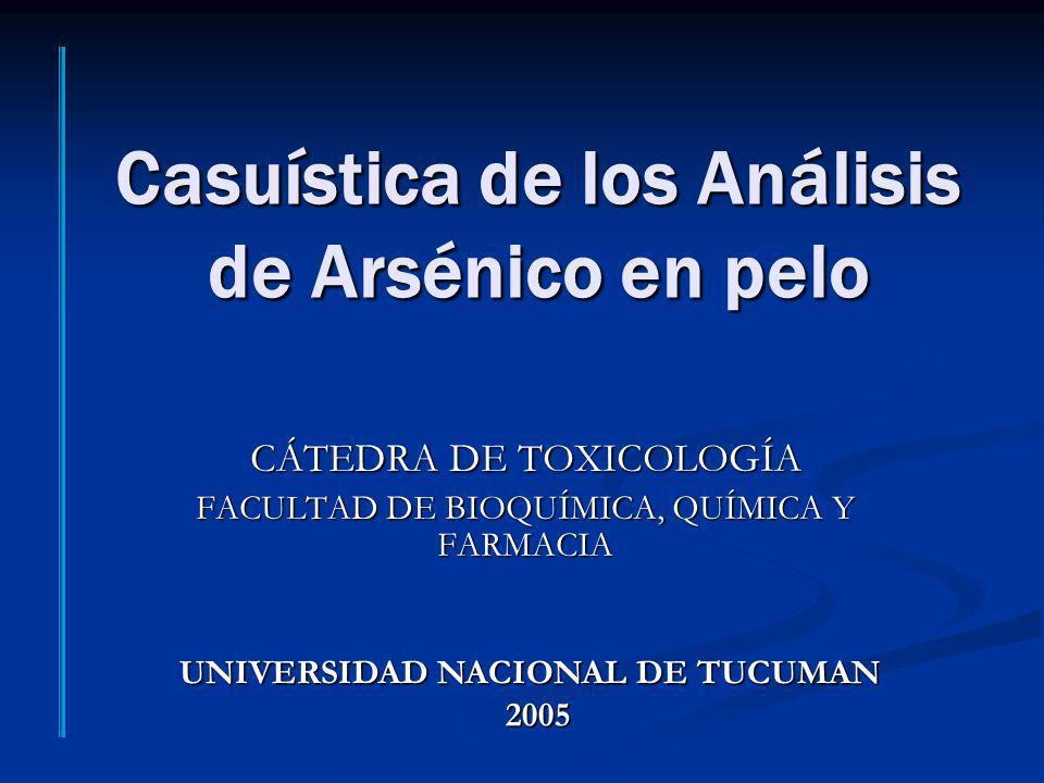 Casuística de los Análisis de Arsénico en pelo CÁTEDRA DE TOXICOLOGÍA FACULTAD DE BIOQUÍMICA, QUÍMICA Y FARMACIA UNIVERSIDAD NACIONAL DE TUCUMAN 2005