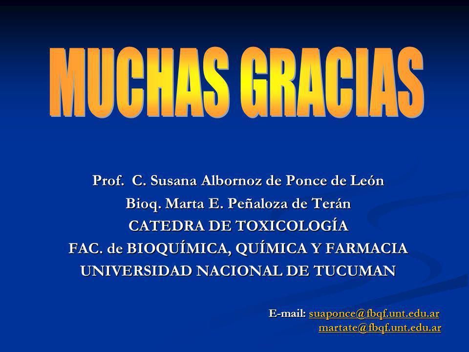 Prof. C. Susana Albornoz de Ponce de León Bioq. Marta E. Peñaloza de Terán CATEDRA DE TOXICOLOGÍA FAC. de BIOQUÍMICA, QUÍMICA Y FARMACIA UNIVERSIDAD N