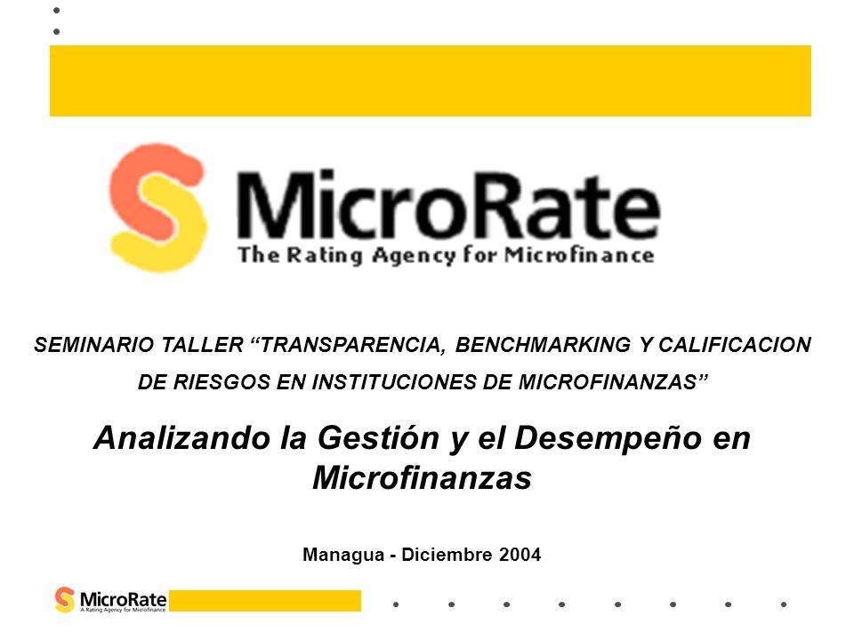 SEMINARIO TALLER TRANSPARENCIA, BENCHMARKING Y CALIFICACION DE RIESGOS EN INSTITUCIONES DE MICROFINANZAS Analizando la Gestión y el Desempeño en Micro
