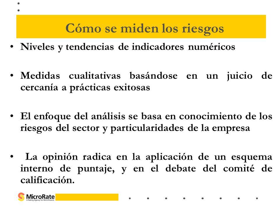 Niveles y tendencias de indicadores numéricos Medidas cualitativas basándose en un juicio de cercanía a prácticas exitosas El enfoque del análisis se