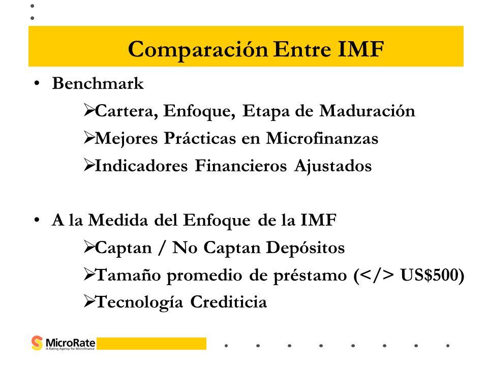 Comparación Entre IMF Benchmark Cartera, Enfoque, Etapa de Maduración Mejores Prácticas en Microfinanzas Indicadores Financieros Ajustados A la Medida