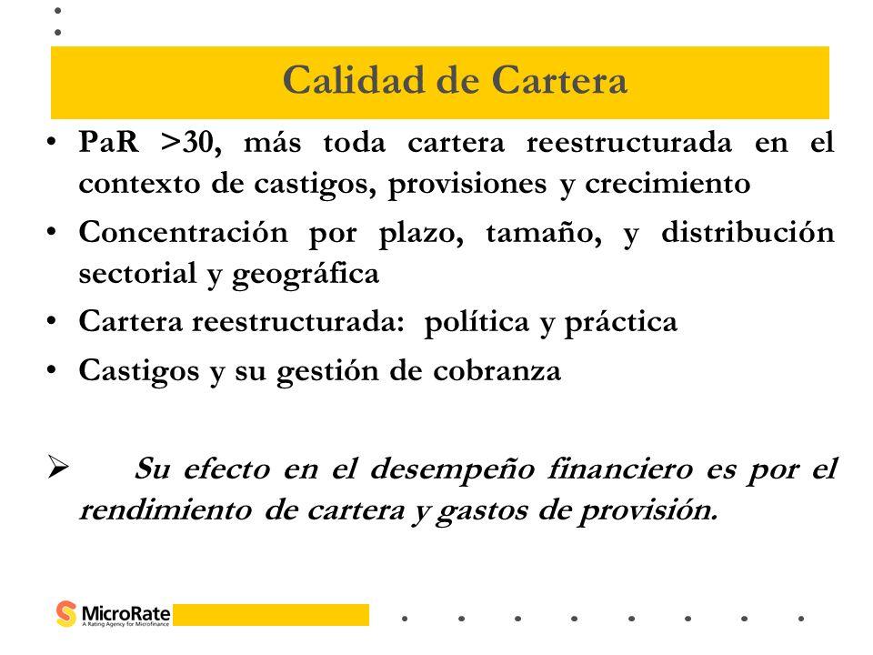 PaR >30, más toda cartera reestructurada en el contexto de castigos, provisiones y crecimiento Concentración por plazo, tamaño, y distribución sectori