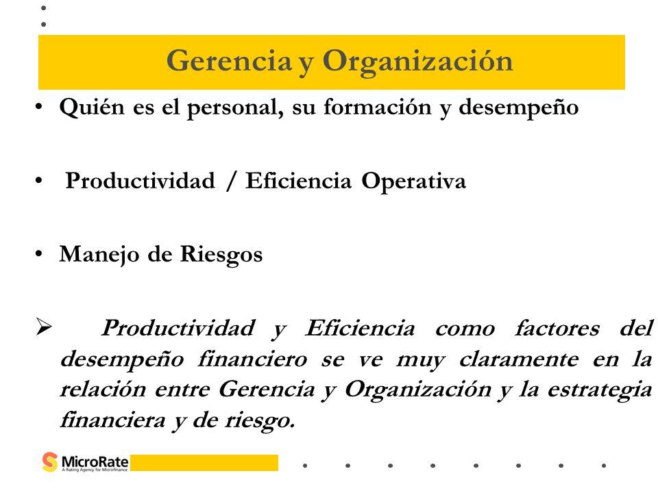 Quién es el personal, su formación y desempeño Productividad / Eficiencia Operativa Manejo de Riesgos Productividad y Eficiencia como factores del des