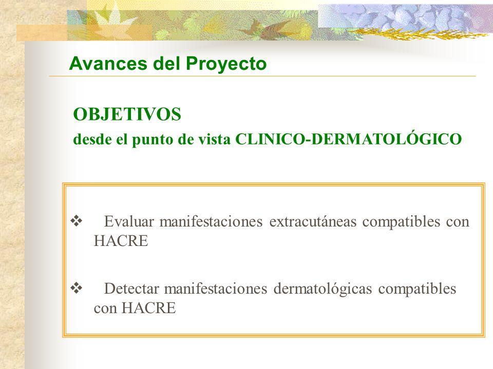Evaluar manifestaciones extracutáneas compatibles con HACRE Detectar manifestaciones dermatológicas compatibles con HACRE Avances del Proyecto OBJETIVOS desde el punto de vista CLINICO-DERMATOLÓGICO