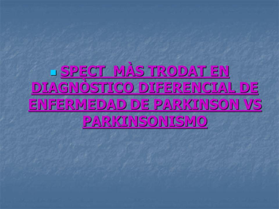 SPECT MÀS TRODAT EN DIAGNÒSTICO DIFERENCIAL DE ENFERMEDAD DE PARKINSON VS PARKINSONISMO SPECT MÀS TRODAT EN DIAGNÒSTICO DIFERENCIAL DE ENFERMEDAD DE P