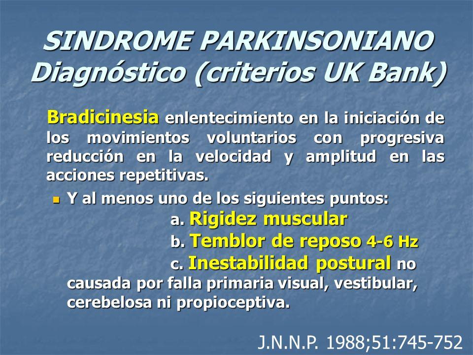 SINDROME PARKINSONIANO Diagnóstico (criterios UK Bank) Bradicinesia enlentecimiento en la iniciación de los movimientos voluntarios con progresiva red