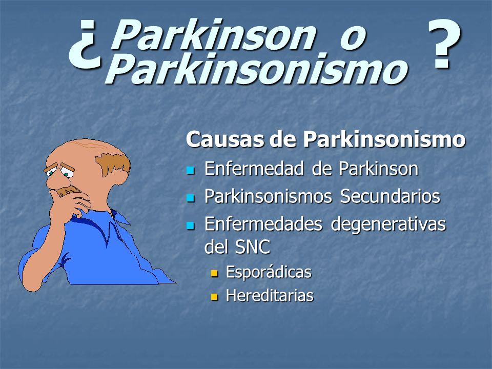 ¿? Parkinson o Parkinsonismo Causas de Parkinsonismo Enfermedad de Parkinson Enfermedad de Parkinson Parkinsonismos Secundarios Parkinsonismos Secunda
