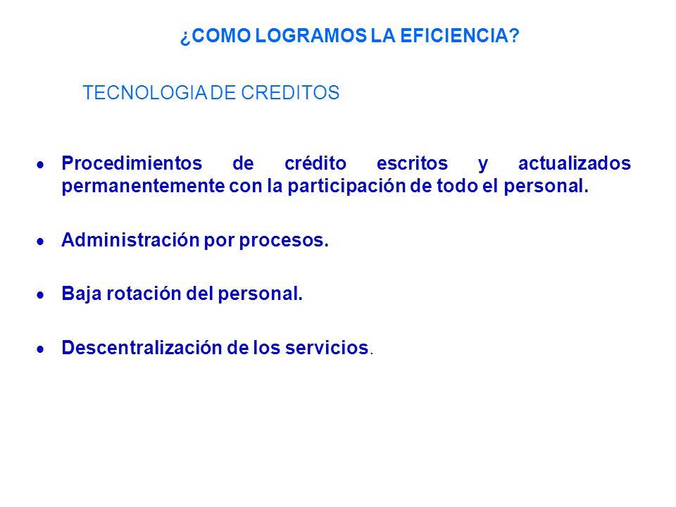 Procedimientos de crédito escritos y actualizados permanentemente con la participación de todo el personal.
