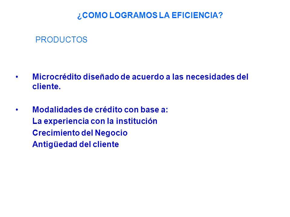 Microcrédito diseñado de acuerdo a las necesidades del cliente.