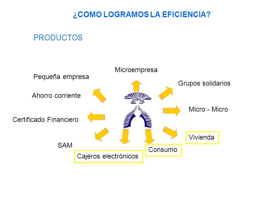 Microempresa Grupos solidarios Micro - Micro Vivienda Consumo Ahorro corriente Certificado Financiero SAM Cajeros electrónicos Pequeña empresa ¿COMO LOGRAMOS LA EFICIENCIA.