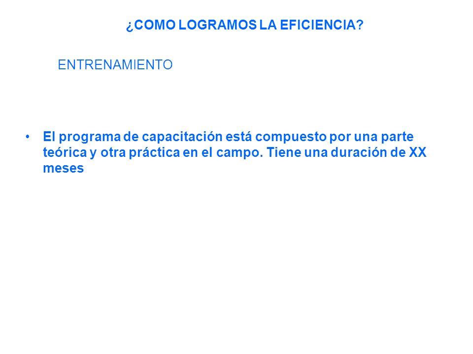 El programa de capacitación está compuesto por una parte teórica y otra práctica en el campo.