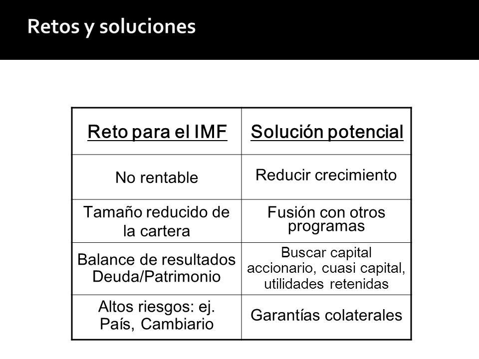 Reto para el IMFSolución potencial No rentable Reducir crecimiento Tamaño reducido de la cartera Fusión con otros programas Balance de resultados Deuda/Patrimonio Buscar capital accionario, cuasi capital, utilidades retenidas Altos riesgos: ej.