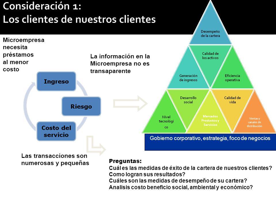 Las transacciones son numerosas y pequeñas Microempresa necesita préstamos al menor costo La información en la Microempresa no es transaparente Preguntas: Cuál es las medidas de éxito de la cartera de nuestros clientes.