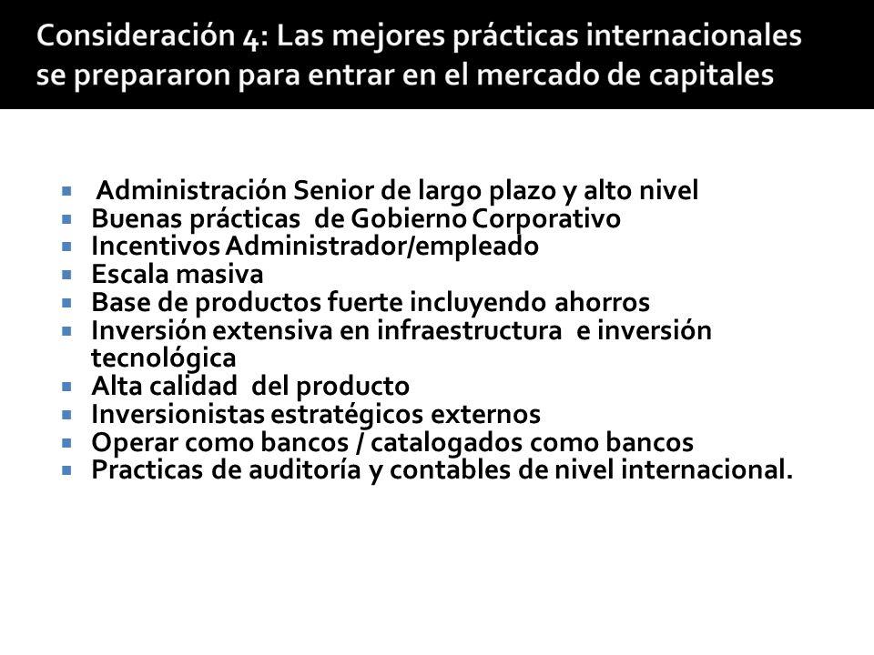 Desarrollo de entidades crediticias profesionales Integración en los mercados de capital internacionales Establecer diversidad de servicios incluyendo depositos Integración en los mercados de capital locales Incrementar la complejidad operativa y la experticia administrativa Contribuir al desarrollo del mercado de capitales
