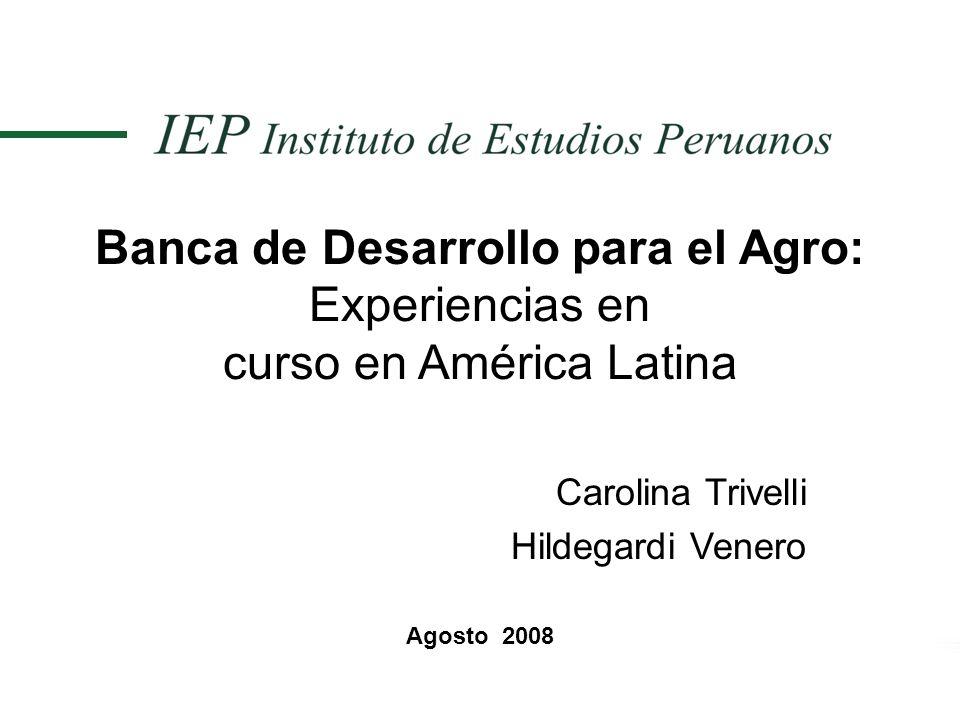 Banca de Desarrollo para el Agro: Experiencias en curso en América Latina Carolina Trivelli Hildegardi Venero Agosto 2008