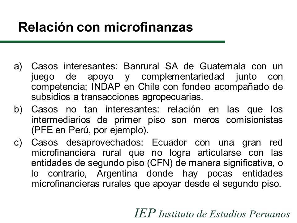 Relación con microfinanzas a)Casos interesantes: Banrural SA de Guatemala con un juego de apoyo y complementariedad junto con competencia; INDAP en Chile con fondeo acompañado de subsidios a transacciones agropecuarias.