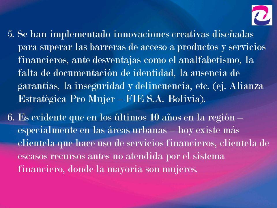 5. Se han implementado innovaciones creativas diseñadas para superar las barreras de acceso a productos y servicios financieros, ante desventajas como