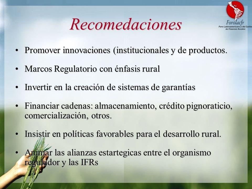 Recomedaciones Promover innovaciones (institucionales y de productos.Promover innovaciones (institucionales y de productos. Marcos Regulatorio con énf