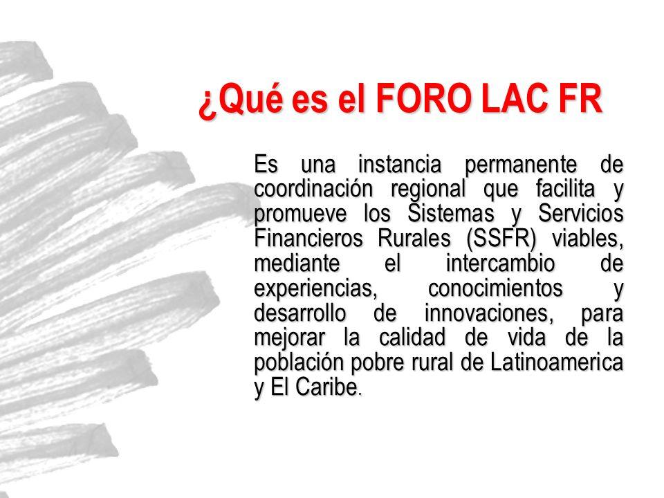 ¿Qué es el FORO LAC FR Es una instancia permanente de coordinación regional que facilita y promueve los Sistemas y Servicios Financieros Rurales (SSFR