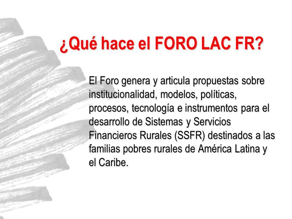 ¿Qué hace el FORO LAC FR? El Foro genera y articula propuestas sobre institucionalidad, modelos, políticas, procesos, tecnología e instrumentos para e