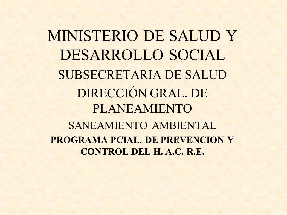 MINISTERIO DE SALUD Y DESARROLLO SOCIAL SUBSECRETARIA DE SALUD DIRECCIÓN GRAL. DE PLANEAMIENTO SANEAMIENTO AMBIENTAL PROGRAMA PCIAL. DE PREVENCION Y C